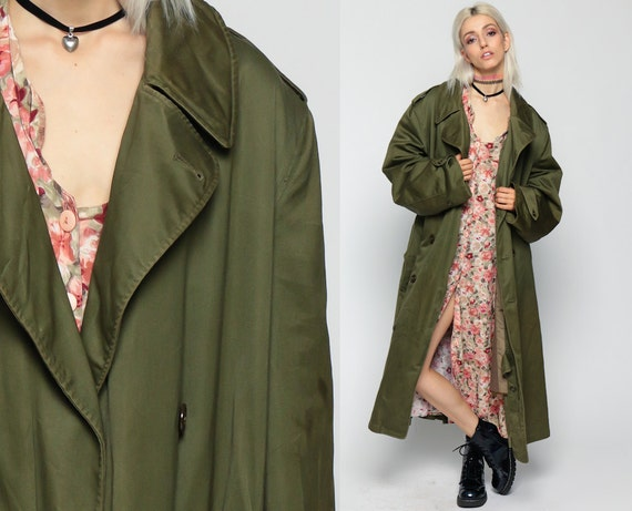 Army TRENCH Coat Military Jacket 80s Grunge Goth Commando Xl