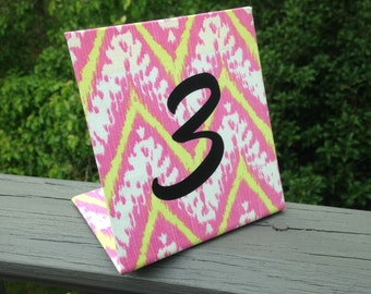 Wedding, Freestanding Table Number,  Fabric Magnet Board, Picture Board, IKAT Fabric, Custom Available, Personalized, Wedding Reception