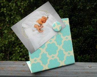 Quatrefoil Magnet Board, Aqua Quatrefoil Fabric, Magnet Photo Frame, Bridesmaid Gift Idea, Shower Gift Idea, Personalized Available