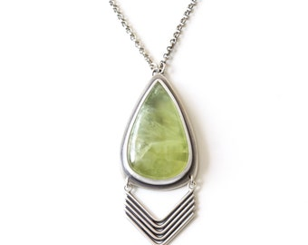 Chartreuse necklace - prehnite and recycled sterling silver teardrop shape glowing yellow green statement necklace