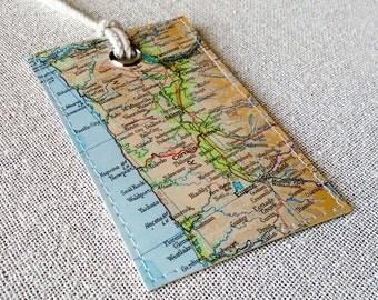 Portland Oregon luggage tag made with original map