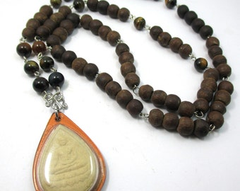 rare special thai bleassed old brown wood prayer beads tiger's eye gemstone beads buddha amulet waterproof pendant necklace