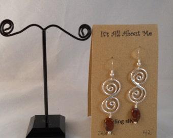 Sterling silver and red Jasper earrings