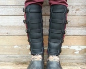 Steampunk Black Leather Shin Guards or Gaiters with Antiqued Brass Hardware