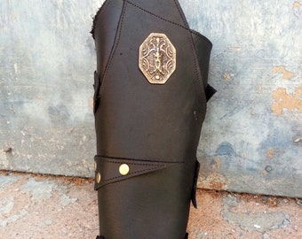 Primitive Oiled Black Leather Peaked Bracer with Brass Odin & Antiqued Brass Accents
