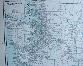 1942 State Map, Washington/West Virginia, 2-Sided, Blue and White, Unframed Map