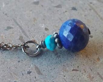 Lapis Necklace,  Arizona Turquoise Necklace, Lapis Lazuli Pendant, Petite Tiny Layering Jewelry Blue Gemstone Drop Dangle Faceted Lapis Gems