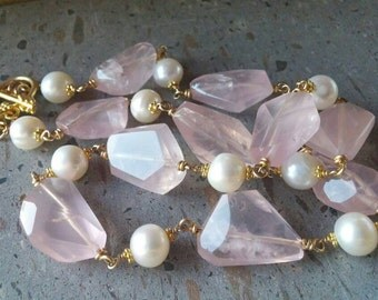 Rose Quartz Necklace, White Pearl Necklace, Wire Wrapped Gemstone Gold Necklace, Genuine Gemstone Necklace, Vermeil Handmade Nugget Necklace