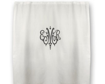 Monogrammed Shower Curtain - Waffle Weave