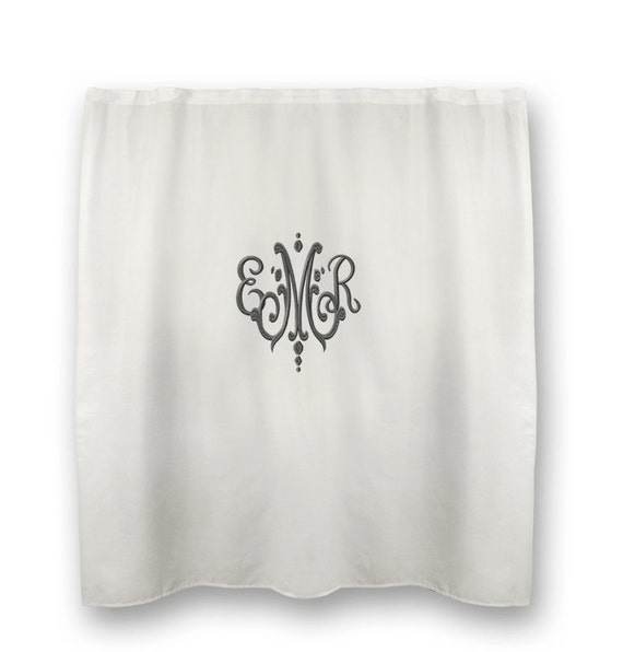 monogrammed shower curtain waffle weave by monogramsetcnc