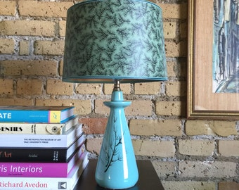 Vintage 1950s Accent Lamp / Muted Teal, Ceramic Base, Hand Painted Branches / Retro Country Cottage Cabin Chic