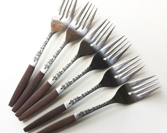 Vintage Mid Century Interpur INR2 Stainless Steel and Brown Molded Handle SALAD FORK / Set of 6