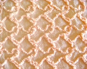 Sweet Peach Squiggle Vintage Chenille Bedspread Fabric 18 x 24 Inches
