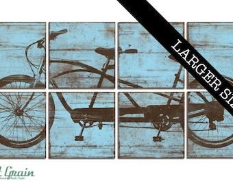 EXTRA Large Tandem Bicycle Wall Art - Rustic Bike Print - Custom Made Tandem Bike Decor - Wedding Gift 32x64
