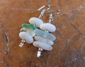 Natural stone / glass earrings, quartz crystals, beach glass, white quartz pebbles - handmade in Australia. Water element jewellery