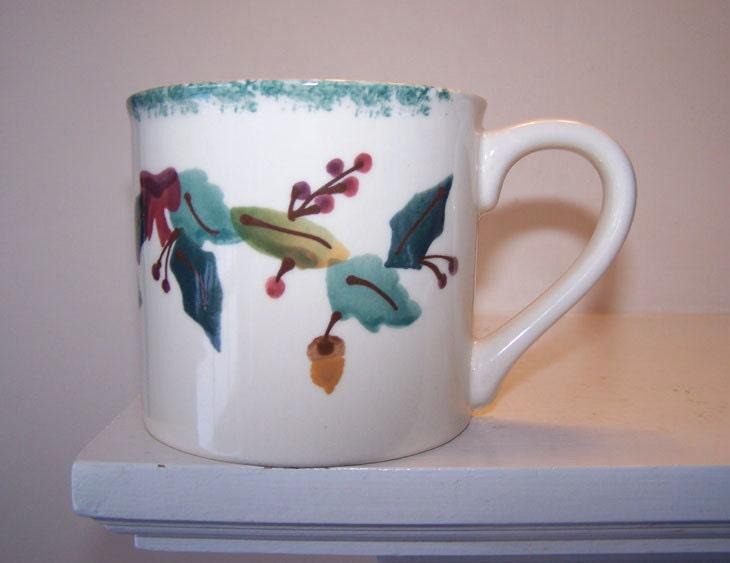 Hartstone pottery fall leaves acorns coffee mug tea cup for Natural stone coffee mugs
