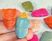 6 OWL Beads Hoot Owl Dyed Howlite Magnesite Assorted Colors LAST LOT Loose Bulk Beads Bright Wizards Birds Halloween Jewelry Supplies 68303