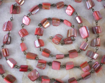 "Chain Coral Sea Shell Beads Beaded on Bronze Tone Wire 38"" long Great for multi-stand (M151)"