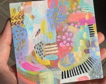 Sweet Tart - Mini Wonderland Series Original Painting - Mini Canvas - Acrylic Painting - Miniature Canvas Painting - Whimsical Painting