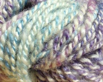 Hand Spun Romney Wool Yarn 38 yards 6-8 wpi Purple Blue and Ivory