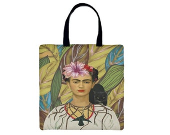 Frida Kahlo and Black Cat Canvas Tote Bag