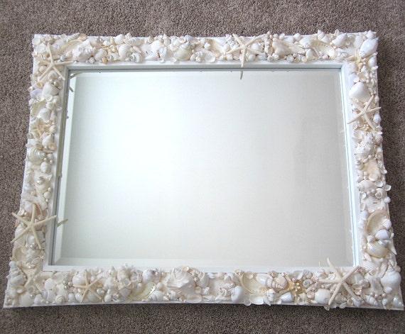 Beach Decor Custom Seashell Mirror  - Nautical Decor Shell Mirror, w Starfish - All White or Colored