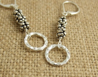 Earrings with Sterling Silver Bali Beads and Textured Loops CHE-250