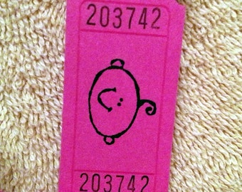 Baby Face Raffle Tickets Hot Pink - 12 Tickets