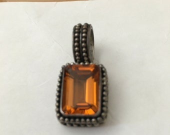 Vintage Sterling Silver Amber Glass Pendant