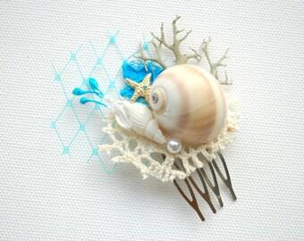 Aqua Turquoise Blue White Beach Weddings Bridal Sea Shells Comb, Nautical Hawaiian Weddings Hair Accessories, Bridal Seashells Headpiece