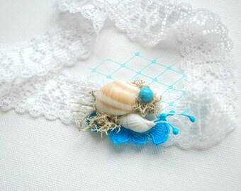 Beach Weddings Bridal Garter, Sea Shells Beach Garter, Nautical Beach Wedding Accessories, Something Blue, Bridal Blue Garter, Blue White