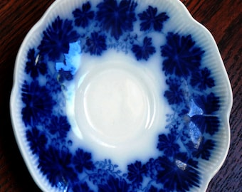 Vintage Flow Blue Plate Grape Leaf Vinranka Gefle Sweden Percy Decorative Saucer Plate