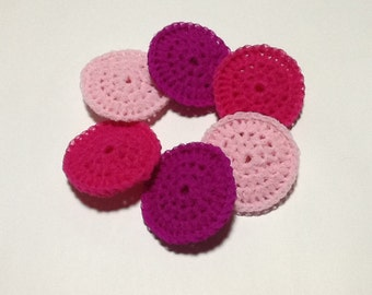 Set of Six Nylon Dish Scrubbies. Pinks