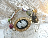cameo bracelet assemblage fall bead mix recycle