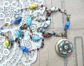 hippie boho necklace micro mosaic assemblage locket seed bead vintage upcycled jewelry pin keepsake