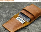 SALE mens leather wallet, brown Leather Wallet, Credit Card wallet case, cognac wallet, money purse, cyber money wallet, christmas gift for