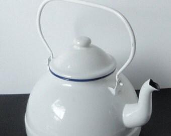 1980s White and Navy Blue Rim RALPH LAUREN Enamelware Tea kettle.