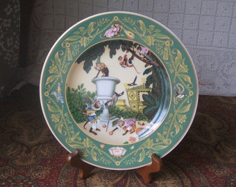 The French Fairy Tales Edmund Dulac Estate, The Monkeys in the Garden Decorative Plate,Heinrich, Germany, Villeroy & Boch