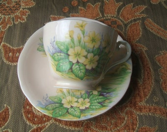 Aynsley Bone China England Teacup & Saucer Set, Pale Pink With Meadow Tree Background Scene, Yellow, Purple Flowers