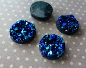 UK free postage Resin Blue Druzy Cabochon 12mm Pack of 10
