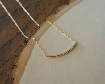 Gold tube / Gold bar necklace. Minimalist. Delicate. Layering. Short. Simple. Everyday. Gift. Bridesmaid. Trendy. Style. Everyday