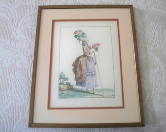 Vintage Art Framed Print French Fashion Marie Antoinette Style