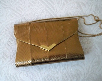 Vintage Purse Clutch Convertible Copper Snake Leather Evening Bag