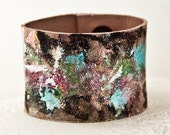 Valentine's Gift Painted Jewelry Leather Cuffs Casual Leather Bracelets Women's Leather Accessories - Boho Leather Wristbands