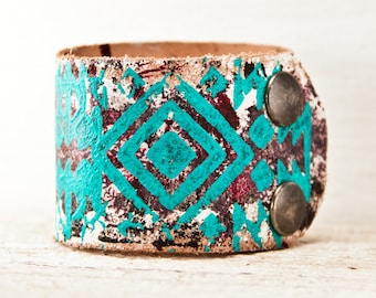 Native Geometric Tribal Cuff Leather Bracelet - Top Trends Turquoise Jewelry