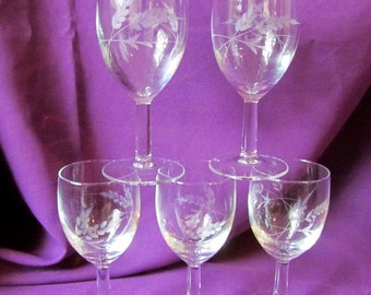 Lot of 5 Vintage Cut Crystal Wheat Design Glasses