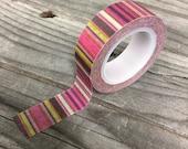 Washi Tape - 15mm - Fuschia, Brown, Pink Stripe- Deco Paper Tape No. 102