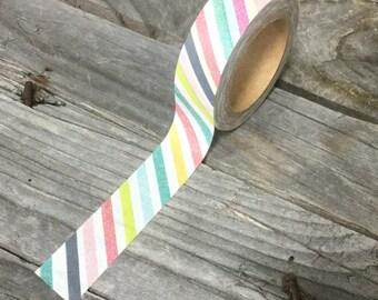Washi Tape - 15mm - Multi-Colored Diagonal Stripes on White - Deco Paper Tape No. 966