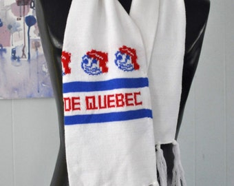 Vintage Quebec Scarf Carnaval Carnival 70s 80s Red White Blue Canada Soft Warm Cozy
