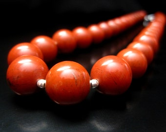 Red Jasper Necklace, Red Jasper Bead Necklace, Red Jasper Jewelry, Round Bead Necklace, Red Necklace, Red Jewelry, Sterling Silver